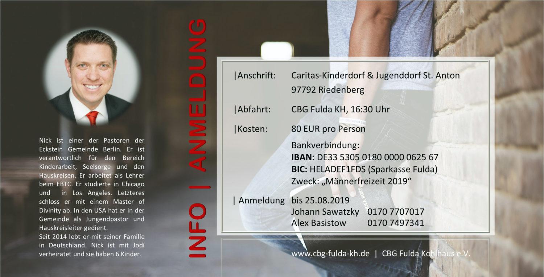 Rückseite Einladung zur Männerfreizeit 2019 - Verantwortung | CBG Fulda Kohlhaus